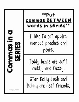 Commas In A Series Worksheet Lovely Grammar Mas In A Series Interactive Notebook by