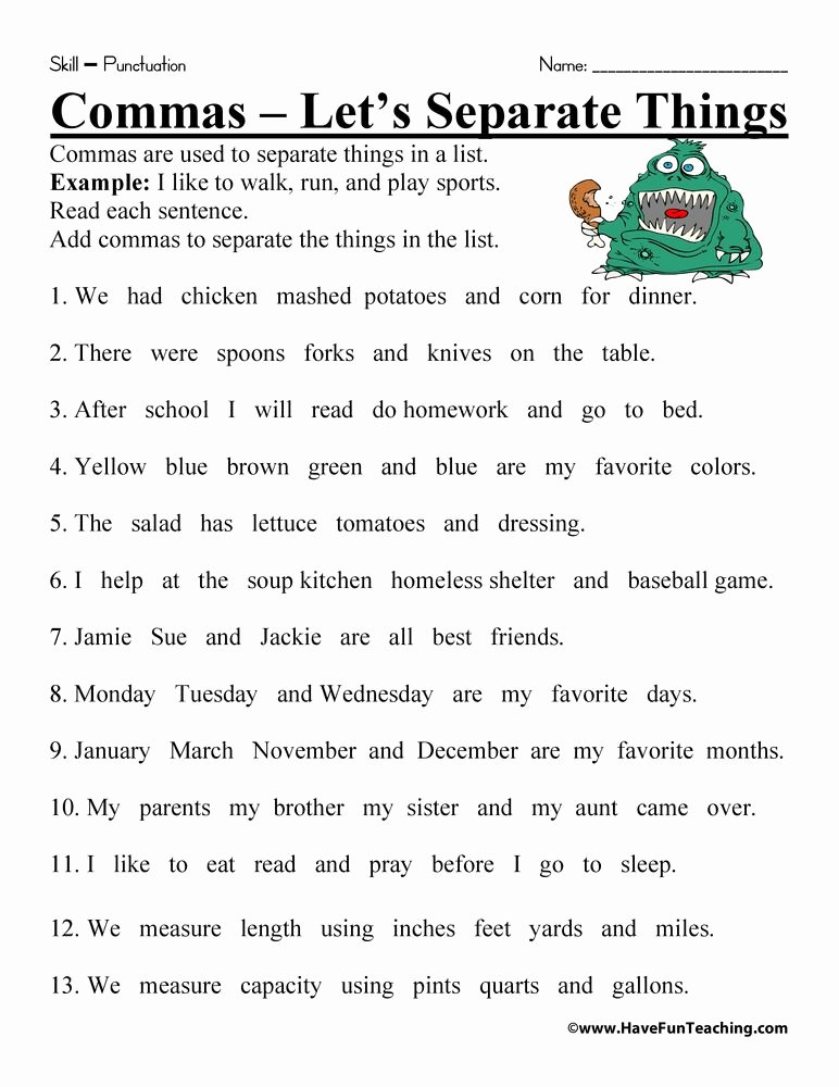 Commas In A Series Worksheet Lovely Ma Worksheet Clases De Ingles