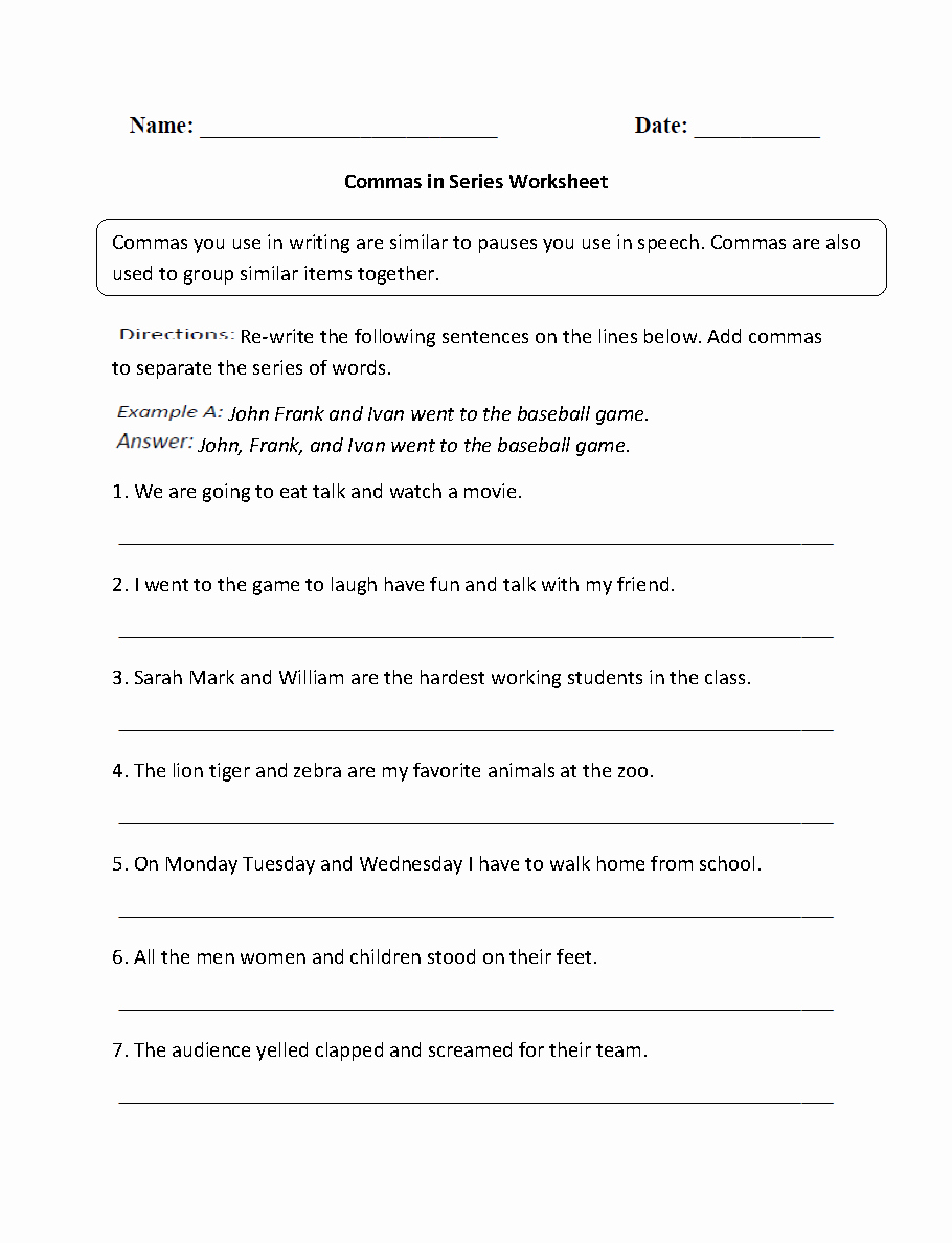 Commas In A Series Worksheet Lovely Punctuation Worksheets