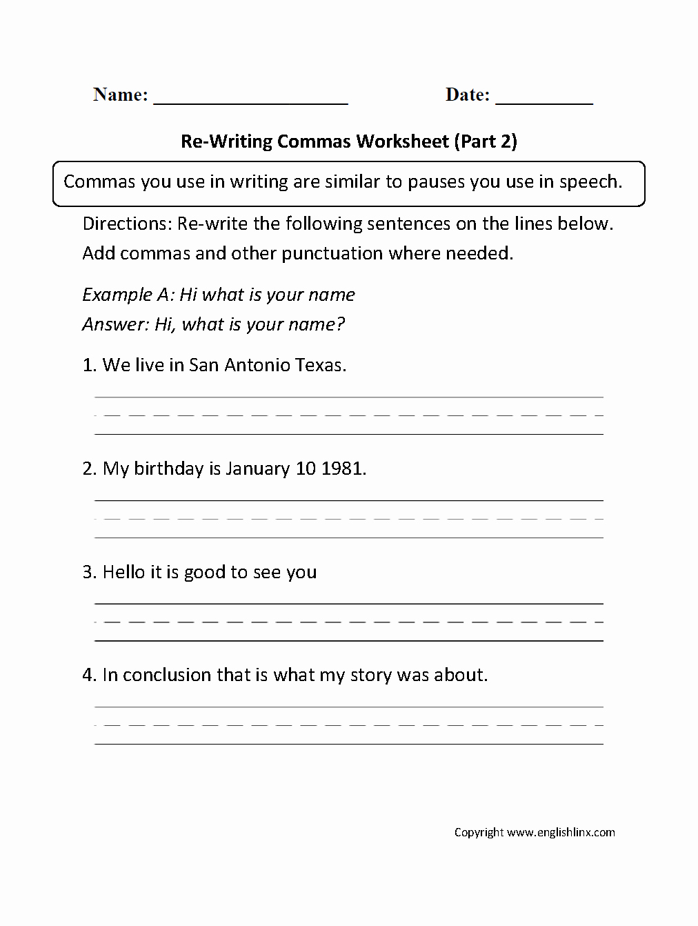 Commas In A Series Worksheet Luxury Englishlinx