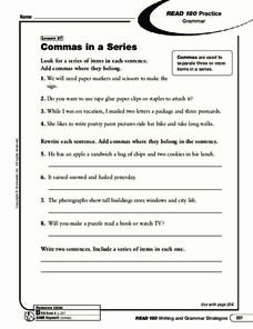 Commas In A Series Worksheet Luxury Mas In A Series Worksheet for 5th 8th Grade
