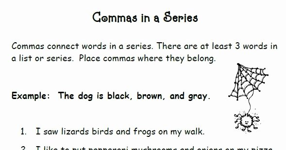 Commas In A Series Worksheet Luxury Smiling and Shining In Second Grade Mas In A Series