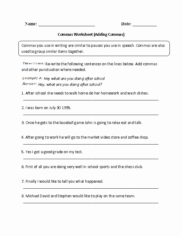 Commas In A Series Worksheet New Englishlinx