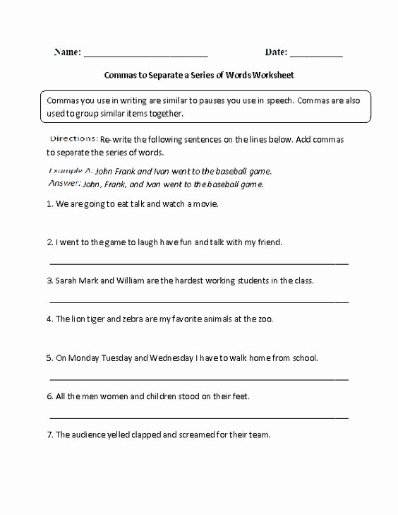Commas In A Series Worksheet New Mas to Separate A Series Of Words Worksheet