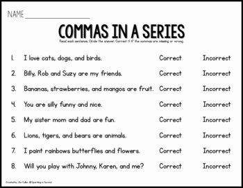 Commas In A Series Worksheet Unique Mas In A Series Scoot by Sparkling In Second Grade