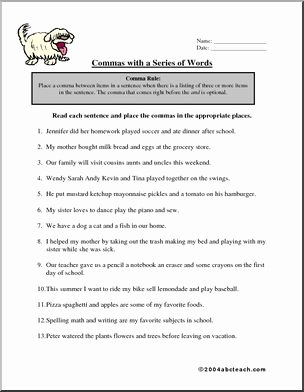 Commas In A Series Worksheet Unique Worksheet Mas In A Series 2