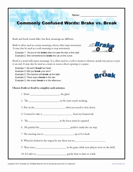 Commonly Confused Words Worksheet Awesome Brake Vs Break Worksheet