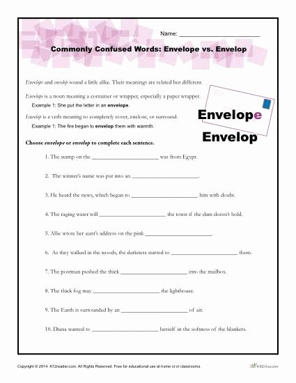 Commonly Confused Words Worksheet Awesome Monly Confused Words Worksheet Envelope Vs Envelop