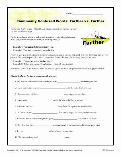 Commonly Confused Words Worksheet Awesome Monly Confused Words Worksheet Farther Vs Further