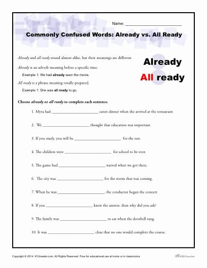 Commonly Confused Words Worksheet Beautiful Already Vs All Ready Worksheet