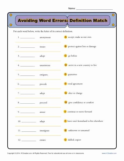 Commonly Confused Words Worksheet Beautiful Avoiding Word Errors