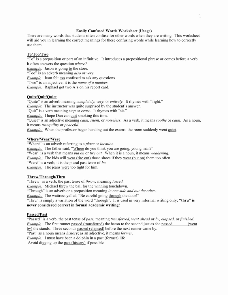 Commonly Confused Words Worksheet Best Of too to Two Worksheet