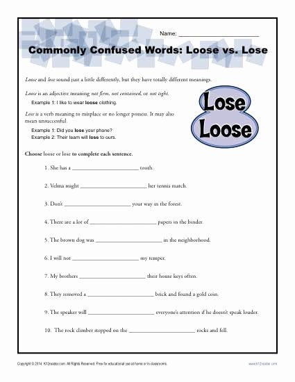 Commonly Confused Words Worksheet Fresh Loose Vs Lose Worksheet