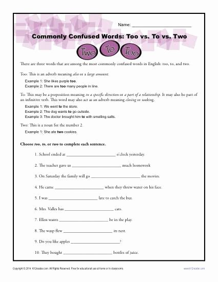 Commonly Confused Words Worksheet Fresh too Vs to Vs Two Worksheet