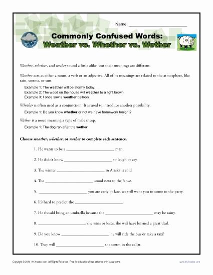Commonly Confused Words Worksheet Inspirational Weather Vs whether Vs Wether Worksheet