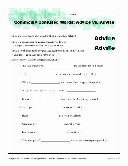 Commonly Confused Words Worksheet Lovely Advice Vs Advise Worksheet