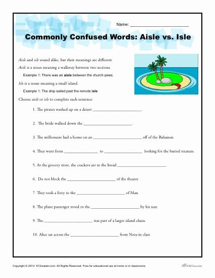 Commonly Confused Words Worksheet Lovely Aisle Vs isle Worksheet