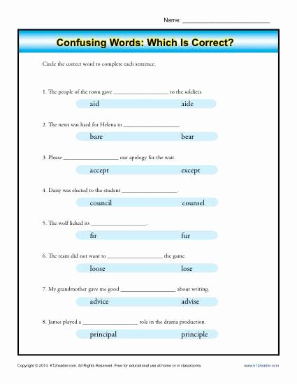 Commonly Confused Words Worksheet Lovely Confusing Words which is Correct