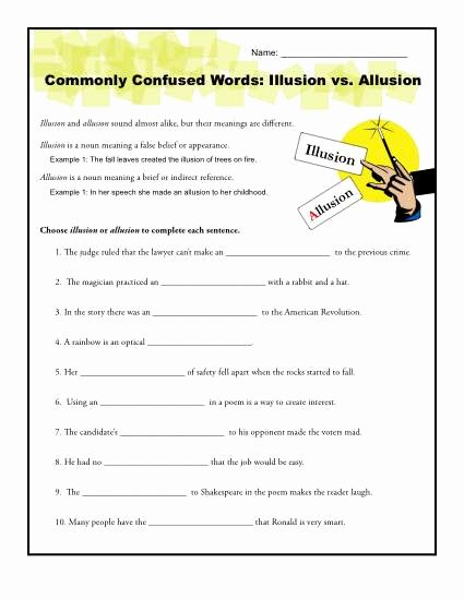 Commonly Confused Words Worksheet Lovely Illusion Vs Allusion Worksheet
