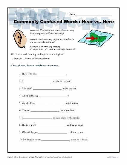 Commonly Confused Words Worksheet Luxury Hear Vs Here Worksheet
