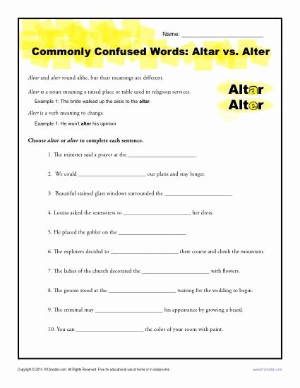 Commonly Confused Words Worksheet New Altar Vs Alter Worksheet