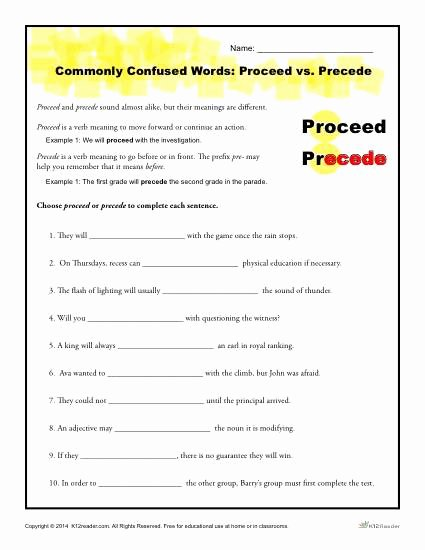Commonly Confused Words Worksheet Unique Proceed Vs Precede Worksheet