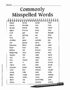 Commonly Misspelled Words Worksheet Best Of Monly Misspelled Words 100 Words Worksheet for 3rd