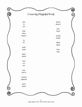 Commonly Misspelled Words Worksheet Inspirational Monly Misspelled Words by theroommom