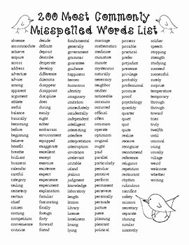 Commonly Misspelled Words Worksheet Unique Free200 Spelling Most Monly Misspelled and Misused