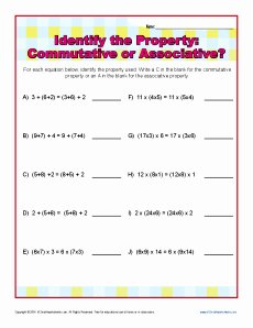 Commutative and associative Properties Worksheet Awesome Mutative or associative Property