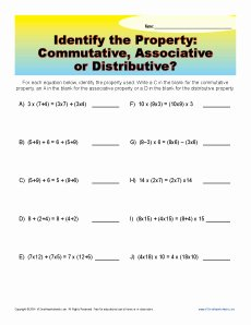 Commutative and associative Properties Worksheet Best Of Mutative associative or Distributive