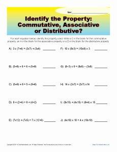 Commutative and associative Properties Worksheet Best Of Mutative associative or Distributive