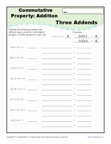 Commutative and associative Properties Worksheet Best Of Mutative Property Addition Worksheets for 1st and 2nd Grade