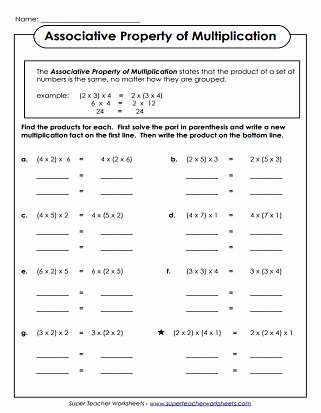 Commutative and associative Properties Worksheet Elegant Properties Of Multiplication Worksheets