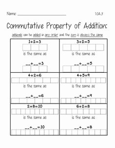 Commutative and associative Properties Worksheet Fresh 1000 Images About 1 0a 3 On Pinterest