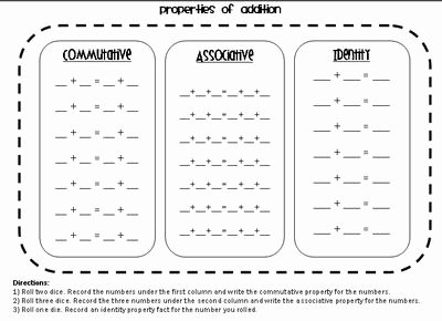 Commutative and associative Properties Worksheet Fresh Nice form for Helping Students Practice Mutative