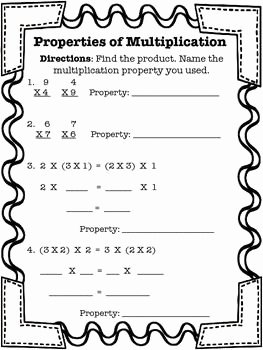 Commutative and associative Properties Worksheet Inspirational Properties Of Multiplication