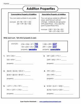 Commutative and associative Properties Worksheet Lovely Addition Worksheets associative Mutative & Identity