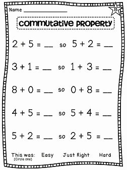 Commutative and associative Properties Worksheet Lovely First Grade Math Unit 7