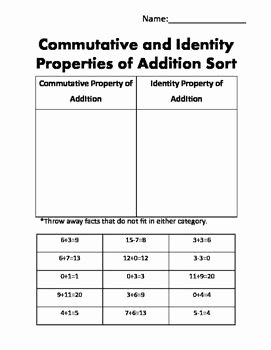 Commutative and associative Properties Worksheet Luxury 1000 Ideas About Properties Addition On Pinterest