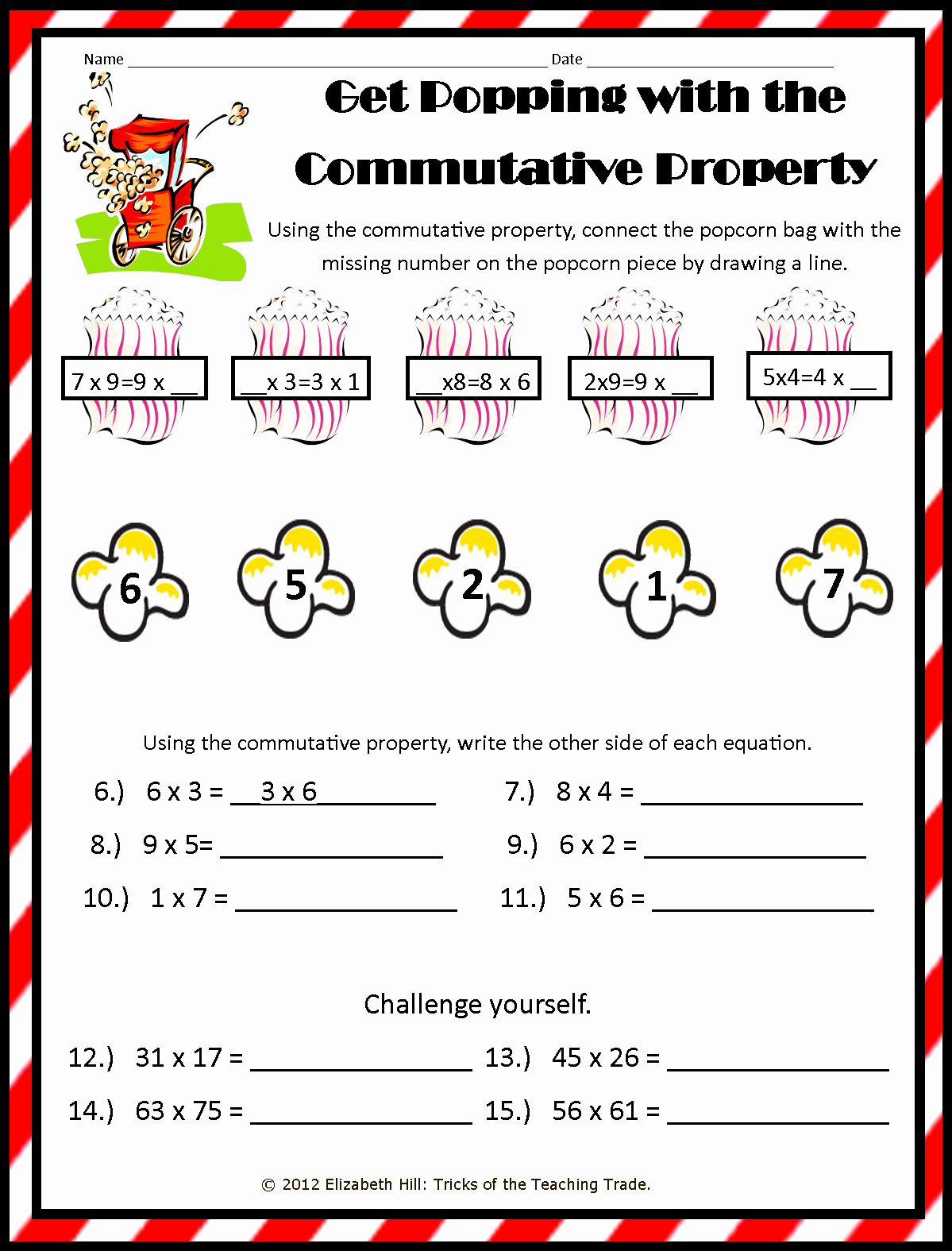 Commutative and associative Properties Worksheet New Tricks Of the Teaching Trade Popping About the Properties