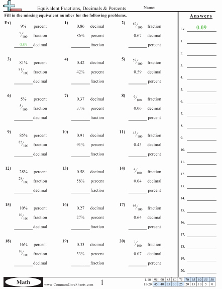 Comparing Fractions and Decimals Worksheet Awesome Fraction Worksheets
