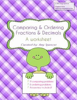 Comparing Fractions and Decimals Worksheet Beautiful Paring and ordering Fractions and Decimals Worksheet