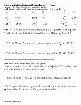 Comparing Fractions and Decimals Worksheet Unique Paring and ordering Fractions to Decimals Worksheets