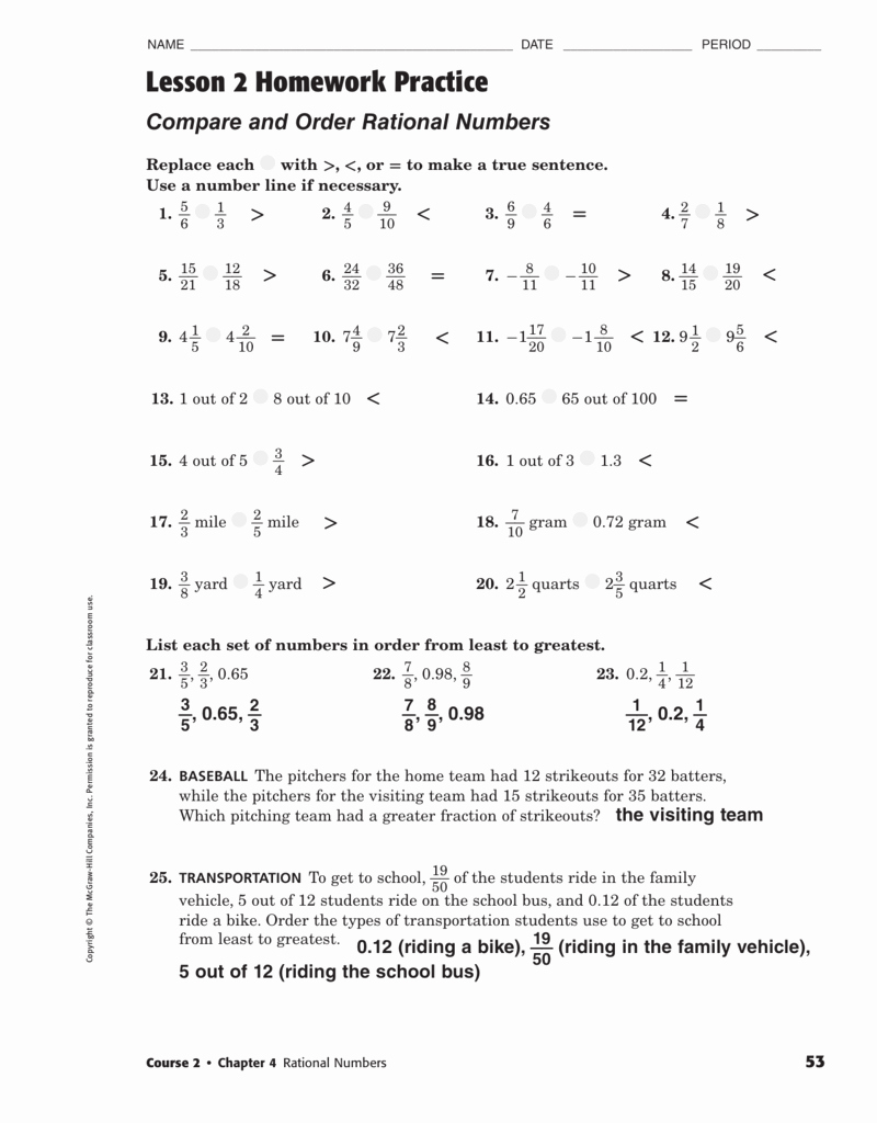 Comparing Rational Numbers Worksheet Awesome Answers