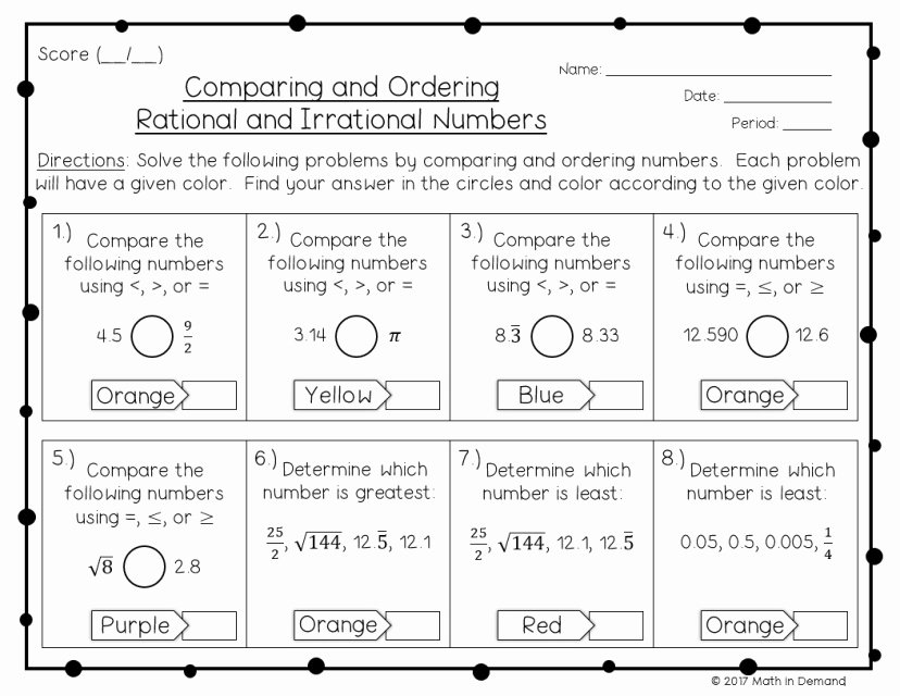 Comparing Rational Numbers Worksheet Fresh Paring and ordering Rationals & Irrationals Coloring