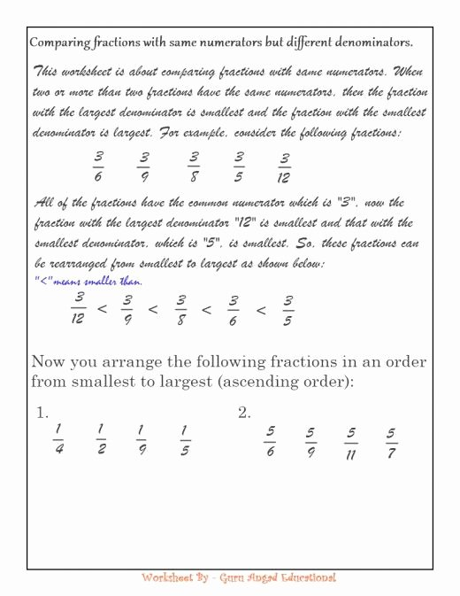 Comparing Rational Numbers Worksheet Luxury Paring Fractions Made Easy