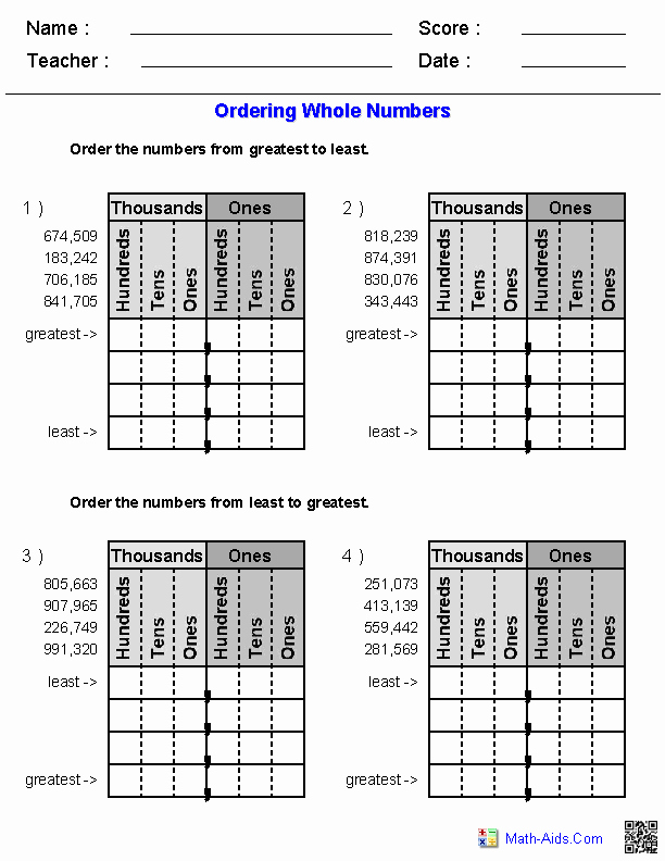 Comparing Rational Numbers Worksheet Unique Great Website for Printables ordering whole Numbers