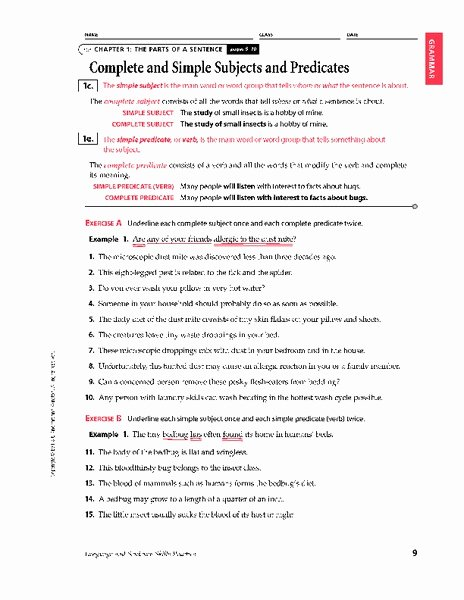 Complete Subject and Predicate Worksheet Awesome Plete and Simple Subjects and Predicates Worksheet for