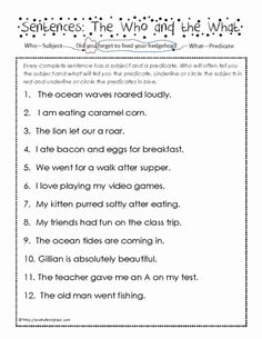Complete Subject and Predicate Worksheet Beautiful Subject Predicate 2nd Grade Predicate